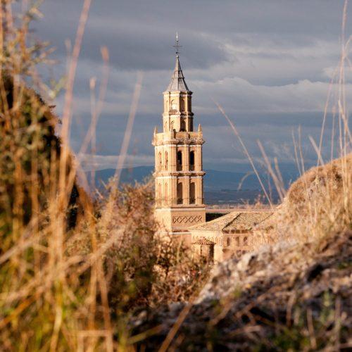 Arguedas, ville jumelée, vue vers le clocher de la ville, au 1er plan le désert des Bardenas