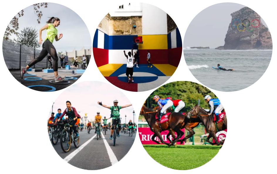 5 photos disposées comme les Jeux Olympiques