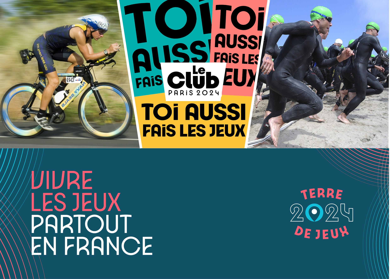 Affiche pour le Club Paris 2024 avec un cycliste et une nageuse en entrainement.